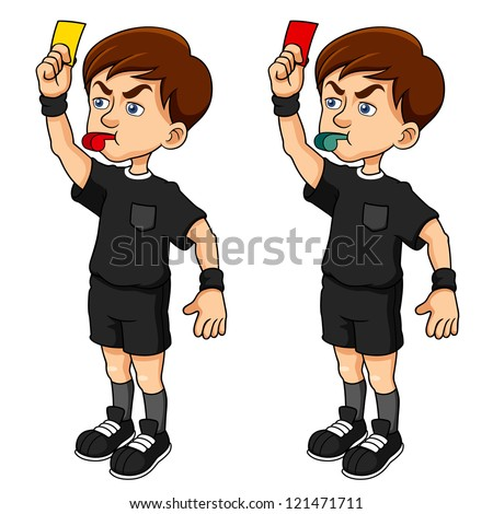 illustration of Cartoon Soccer referees holding red and yellow card - stock vector