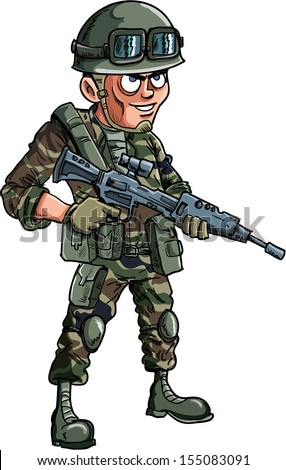 Illustration of cartoon soldier with a rifle Isolated - stock vector
