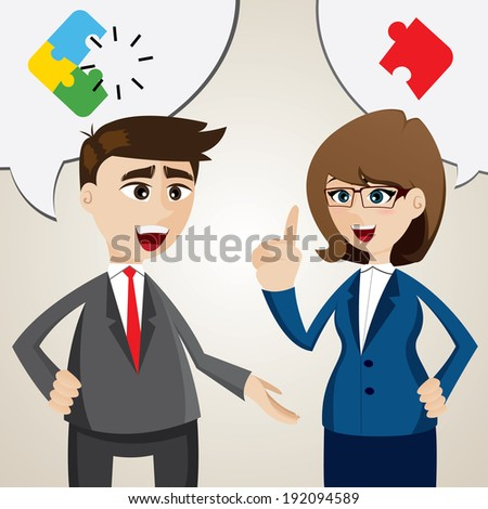 illustration of cartoon solve problem between businessman and businesswoman - stock vector