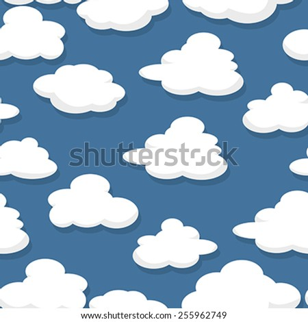 Illustration of cartoon style clouds over a blue sky, seamless pattern - stock vector