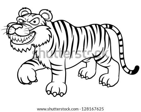 illustration of Cartoon tiger - Coloring book - stock vector