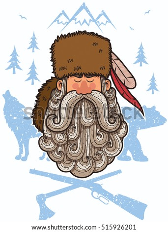 Illustration of cartoon trapper with big beard.