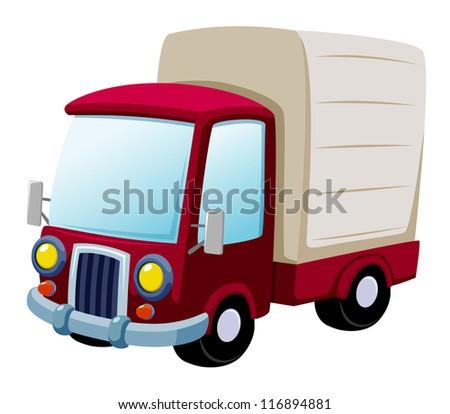 illustration of cartoon truck.Vector - stock vector