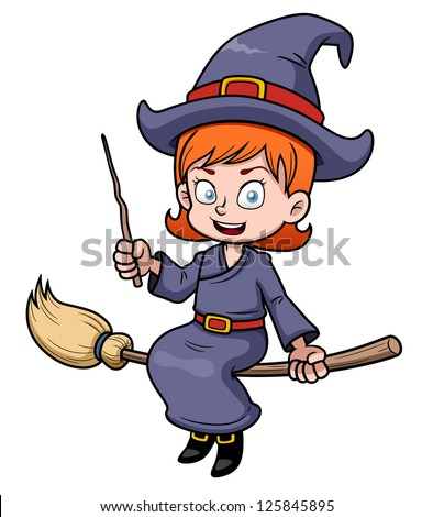 illustration of cartoon witch flying on a broomstick - stock vector