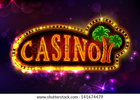 illustration of casino background with glowing palm tree - stock vector