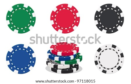 illustration of casino chips on white background - stock vector
