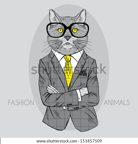 Illustration of Cat in Business Suit Isolated on Grey Background - stock vector