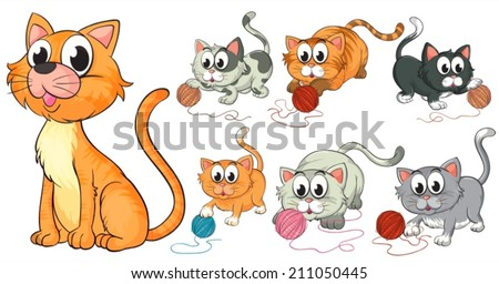 Illustration of cats and kittens - stock vector