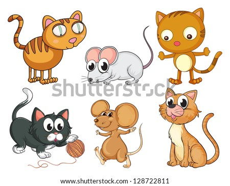 Illustration of cats and mice on a white background - stock vector