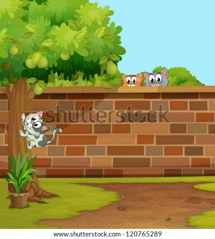 illustration of cats in a beautiful nature - stock vector