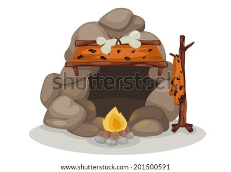 illustration of caveman vector - stock vector