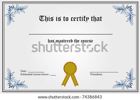 illustration of certificate template with blank spaces - stock vector