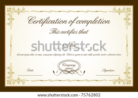 illustration of certificate template with floral frame - stock vector