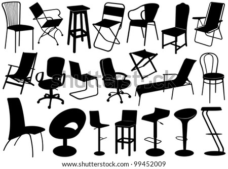 Illustration of chairs set - stock vector
