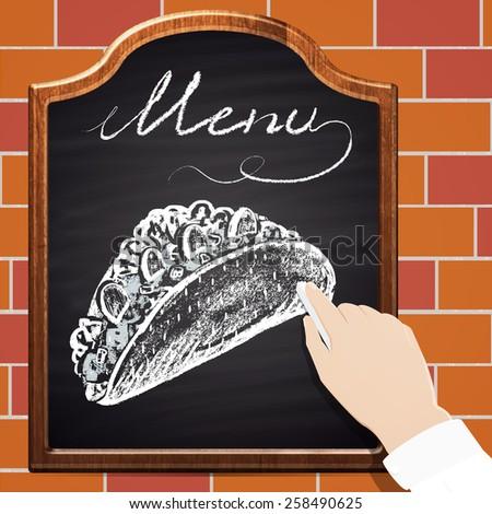 Illustration of chalk painted tacos on blackboard and bricks background. Menu theme. - stock vector