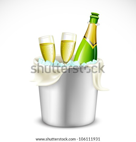 illustration of champagne glass and bottle in bucket full of ice - stock vector