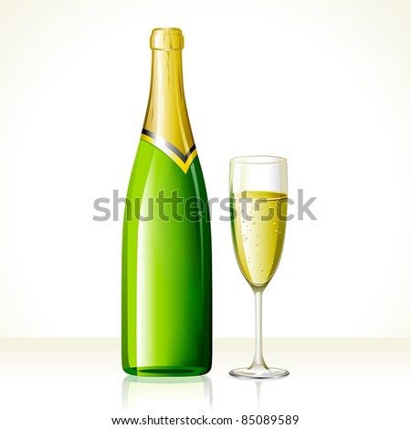 illustration of champagne glass and bottle on abstract background - stock vector