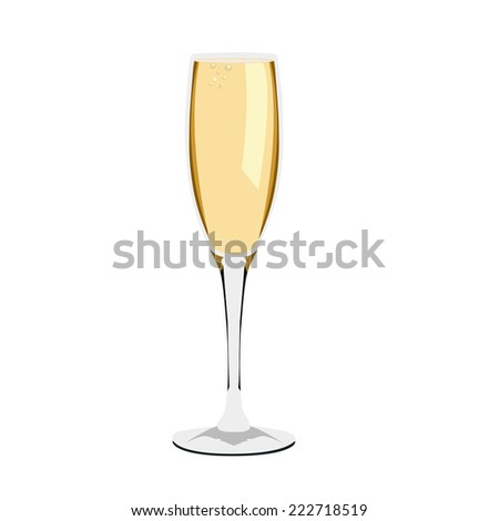 Illustration of champagne glass, champagne - stock vector