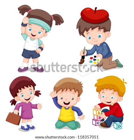 illustration of characters kids cartoon.Vector - stock vector