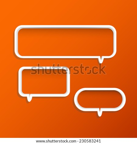 Illustration of chat bubble shelves on a colorful orange background. - stock vector
