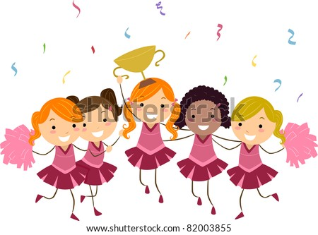 Illustration of Cheerleaders Showing Their Trophy - stock vector