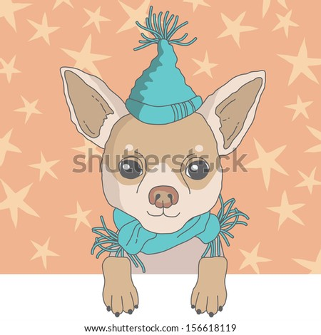 Illustration of chihuahua in cap - stock vector