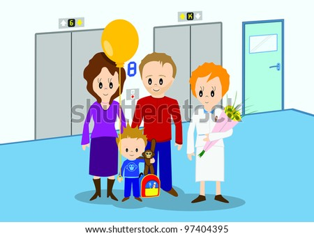 Illustration of child discharged from hospital and going home. All vector objects and details are isolated and grouped. This illustration is a part of a story about a child in hospital. - stock vector