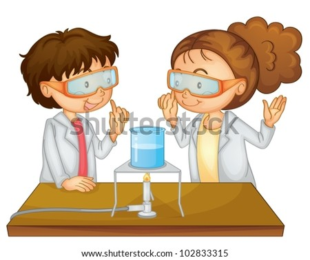 Illustration of 2 children doing science - stock vector