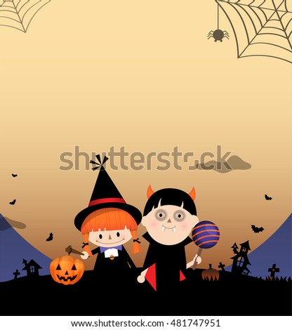 Illustration of children dressing in costumes on Halloween. Full moon behind.