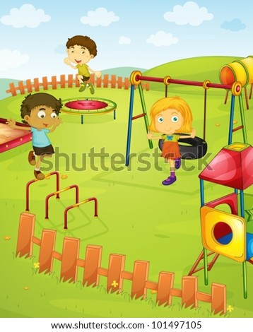 Illustration of children in the playground - stock vector