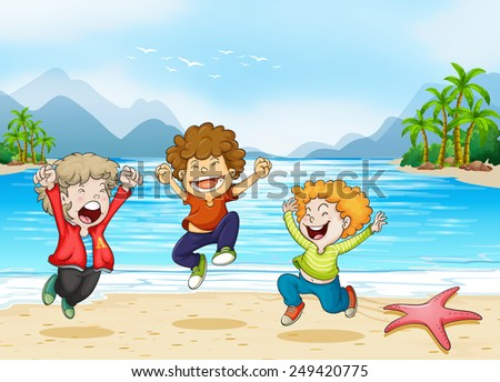 Illustration of children jumping on the beach - stock vector