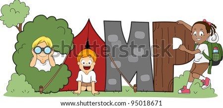 Illustration of Children Out Camping - stock vector