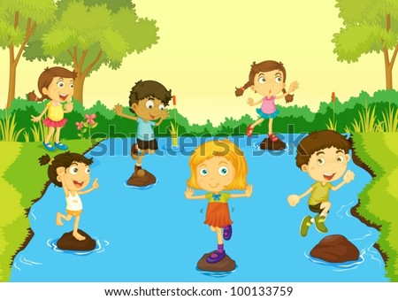 Illustration of children playing - stock vector
