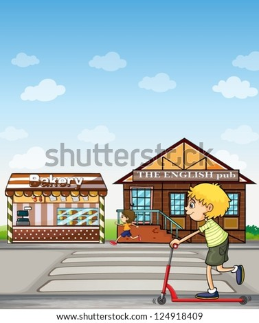 Illustration of children playing beside a bakery and pub. - stock vector