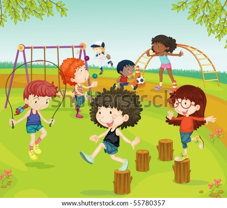 Illustration of Children Playing in Park on colorful background - stock vector