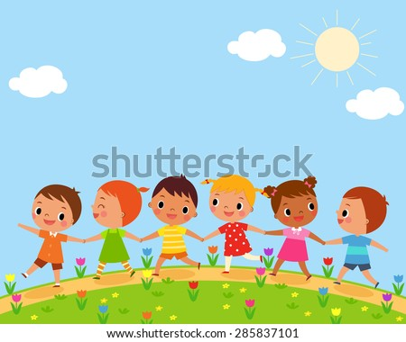 illustration of children walk on a beautiful spring day - stock vector
