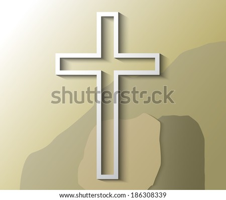 Illustration of Christian cross with empty grave - stock vector