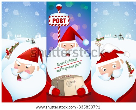 Illustration of Christmas and winter season. Banners of Santa Claus and snow background.   - stock vector