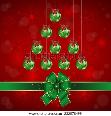 Illustration of Christmas background with balls and bows in green and red colors  - stock vector