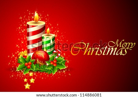 illustration of christmas candle on abstract background - stock vector