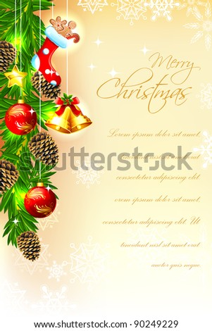 illustration of christmas card with decorated frame and bell - stock vector