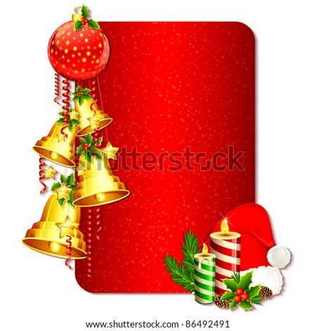 illustration of christmas card with hanging bell and santa cap - stock vector