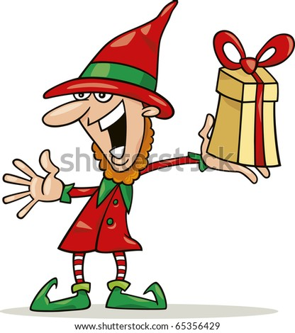 illustration of christmas elf with special gift - stock vector