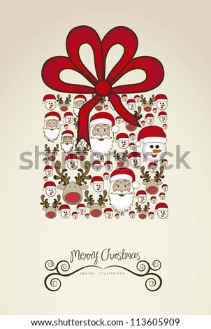 Illustration of christmas gift, made with christmas characters, vector illustration - stock vector