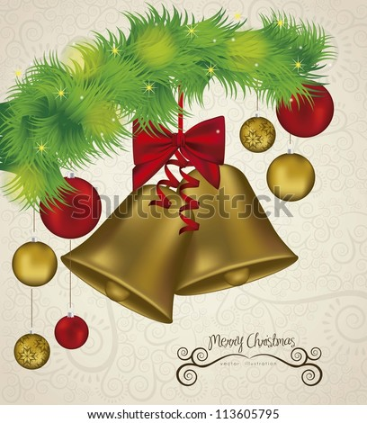 illustration of christmas golden bells with red ribbon, vector illustration - stock vector