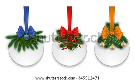 Illustration of Christmas sale or gift tags with bows, fir tree branches and balls isolated