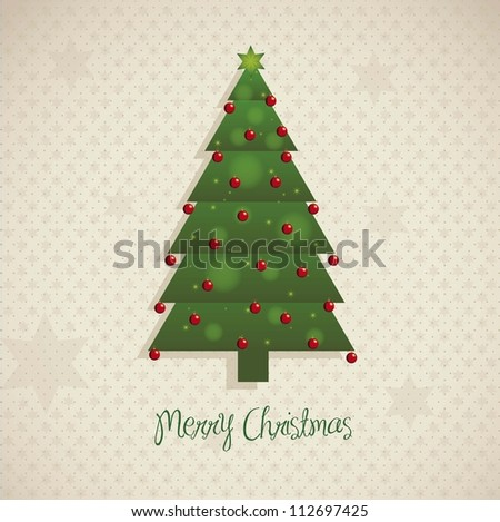 Illustration of Christmas tree,  over gray and stars background, vector illustration