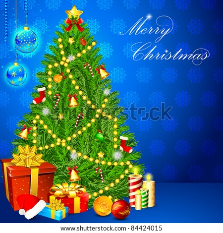 illustration of christmas tree with gift and candle on snowflakes background - stock vector