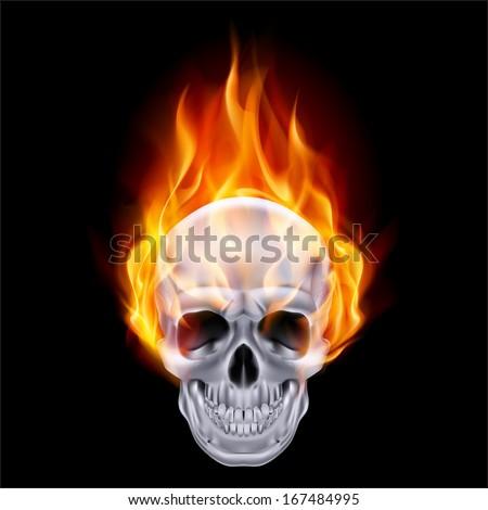 Illustration of chrome fire skull on black background. - stock vector
