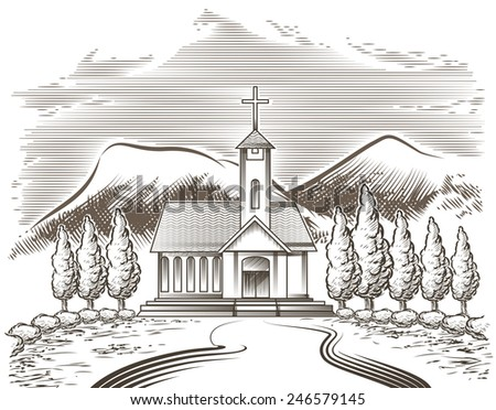 Illustration of church yard and village road against mountain landscape drawn in vintage engraving style - stock vector